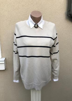 Легкая,трикотажная кофта в полоску,свитер,джемпер шерсть+кашем...
