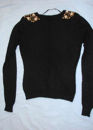 Свитер кофта шерсть теплая нарядная размер 40-42 / 6-8 черный ...
