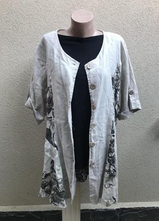 Кардиган, туника,блуза в цветочный принт, а-силуэт,большой раз...
