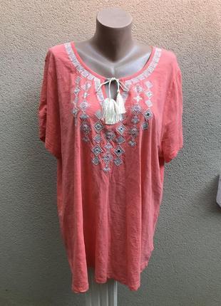 Красивая блузка с вышивкой по груди,этно,батал,большой размер,...