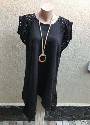 Чёрное платье,туника,блуза,сарафан ассиметричный с кружевом,лен