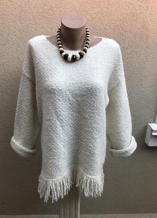Шерстяная,вязанная,фактурная,тёплая,кофта,свитер,бахрома по ни...