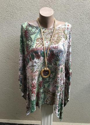 Трикотажная блузка-пончо,кофта,большой размер,батал,принт огур...
