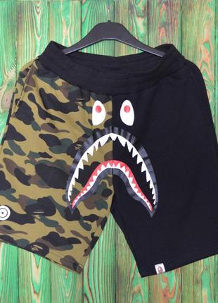 Шорты bape shark full zip camo / black новинка нба