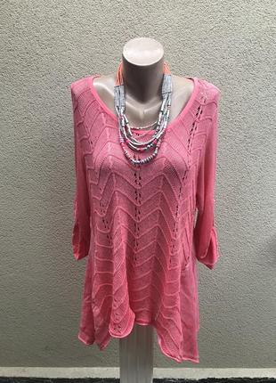 Комбинирован.ассиметр,розовая,трикотаж.ажур блуза,туника,кофта...