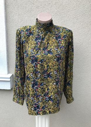 Шикарная,винтаж,шелковая блуза,рубаха с застежкой по всей спин...