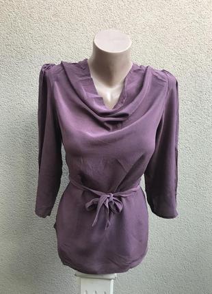 Шелковая блузка под пояс,рубаха- ворот хомут, шёлк 100%, индия