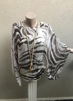 Шелковая,комбинированная блуза-пончо,разлетайка,люкс бренд,ори...