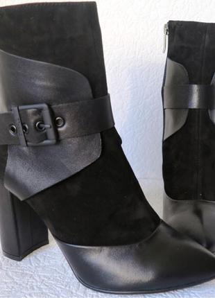 Casadei ! Черные стильные шикарные женские кожаные ботинки на каб