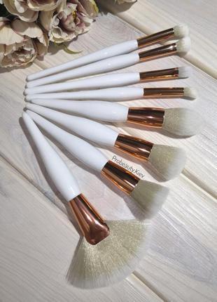 8 шт кисти для макияжа набор white/gold probeauty
