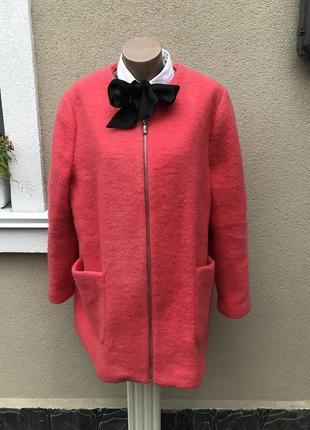Розовое,легкое,шерстяное пальто,полу-пальто на молнии, большой...