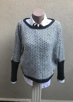 Серая,шерстяная кофта,свитер,джемпер с люрексом ,оригинал guess