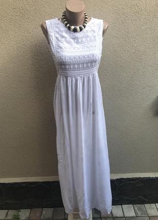 Белое,летнее платье,сарафан без подкладки,кружево,гипюр по гру...