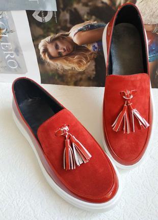 Женские кожаные кеды туфли лоферы Calvin красная лакированная кож