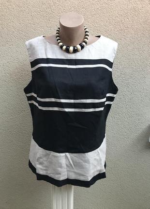 Льняная блузка по фигуре, в полоску,большой размер,лён+вискоза...