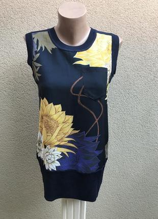 Синяя,комбинированная,вискозная блузка,жилетка,кофточка,трикот...
