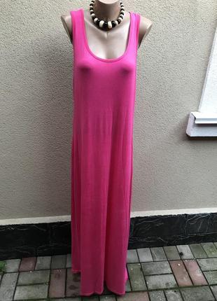 Сарафан-майка длинное в пол,платье летнее,розовое,большой размер,