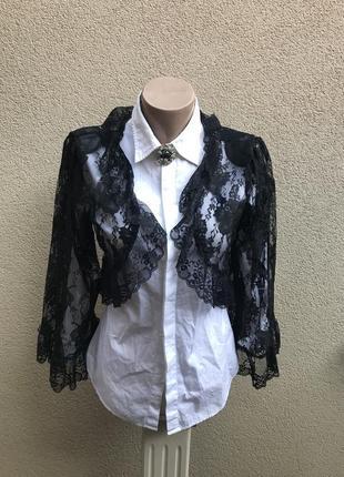 Шикарная,кружево,гипюр,вечерняя,чёрная накидка,болеро,блуза ук...