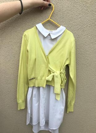 Красивый,яркий,желтый кардиган,кофта на запах,хлопок+шелк,экск...