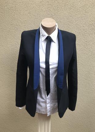 Темно-синий жакет,пиджак без застежки,офисный,люкс бренд,ориги...