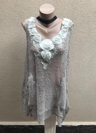 Серая,льняная блуза,туника,майка-сетка,ассиметр,аппликация цве...