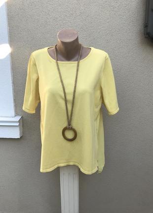 Желтая,комбинирован блузка,футболка,удлиненное плиссе по спинк...