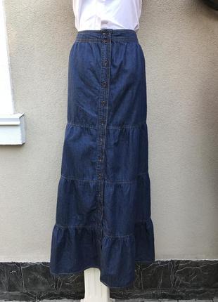 Джинсовая,длинная юбка,впереди застежка,большой размер,100% хл...