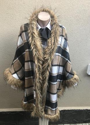 Шерстяное пончо,накидка,дафлкот,пальто-пончо в клетку,с мехом,...