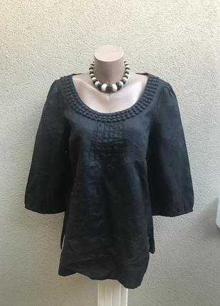 Чёрная,лён блуза,рубаха,этно,деревенский стиль,большой размер,...