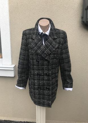 Шерстяное пальто,полу-пальто буклированное,жакет,пиджак в клет...