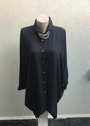 Чёрная рубашка,блуза,туника с удлиненной спинкой,летучая мышь,...