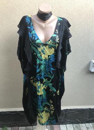 Шелковое платье-пончо,туника с воланами,рюшами по боку,вечерне...