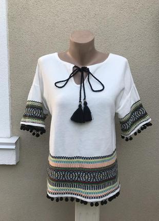 Трикотаж блузка,кофточка с помпонами в этно,бохо стиле,хлопок,...