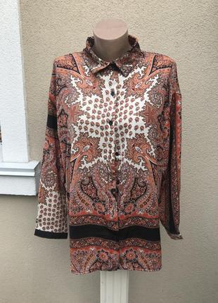 Новая блузка,длинный рукав,рубаха в восточный,этно принт огурц...