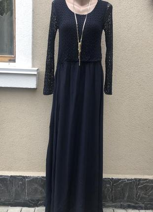 Длинное,синее,комбинированно платье,длинный,кружево,ажур рукав...