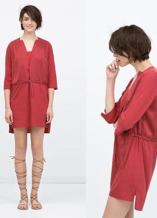 Платье,туника из комбинированной ткани,рубаха удлиненная от zara
