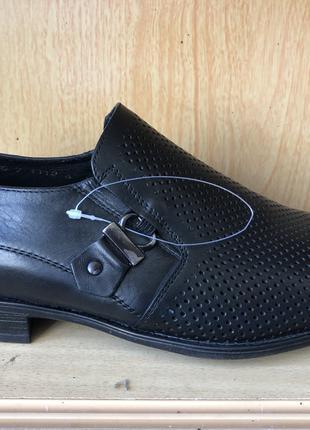 Чёрные туфли мужские кожаные классические в дырочку Mida