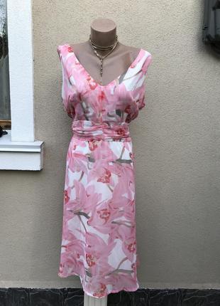 Легкое,нарядное,розовое платье,сарафан в цветочный принт,больш...