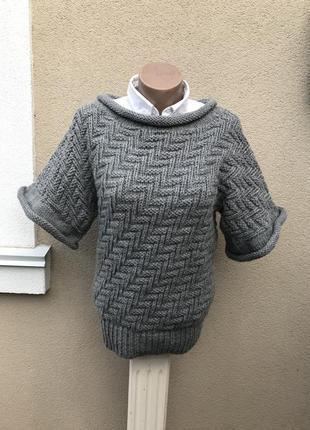 Серая кофта крупной вязки,свитер ажурный,джемпер,гольф,водолаз...