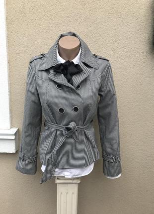 Укорочённый плащ, тренч,жакет,пиджак,куртка в клетку под пояс....