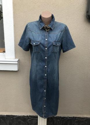 Тонкое,джинсовое платье-рубашка-халат на застёжке,оригинал,хло...