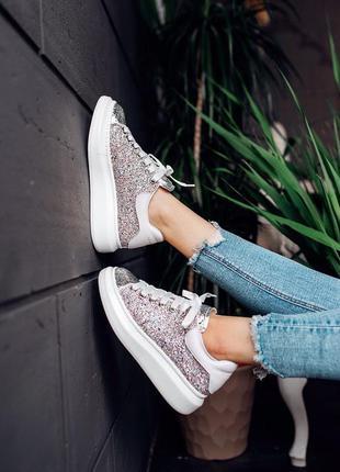 Alexander mcqueen glitter leather женские кроссовки наложенный...