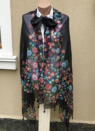 Тонкий,легкий шарф,палантин,бахрома,цветочный принт,этно,дерев...