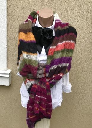 Очень красивый,тонкий,длинный,мохеровый шарф в разноцветную по...