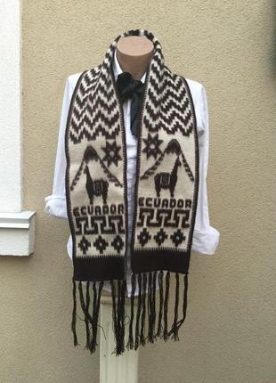 Красивый,эксклюзивный шарфик с бахромой,шерсть альпака,эквадор...