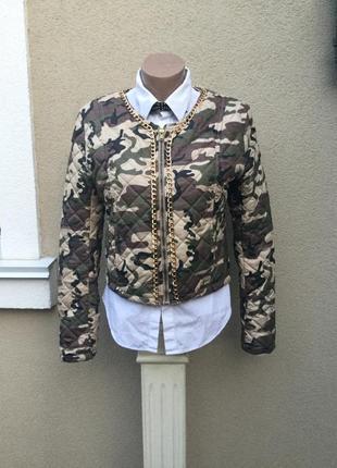 Легкая,тонкая,стёганная куртка,жакет,пиджак с золотой цепью,ха...