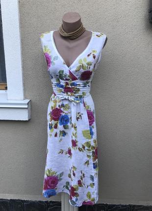 Романтическое,льняное платье,сарафан в цветочный принт,этно,ит...