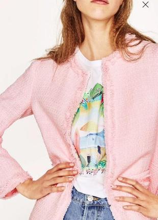Розовый,удлиненный жакет,пиджак-пальто твидовый,бахрома,стиль ...
