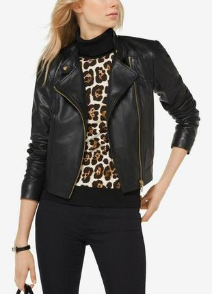 Michael kors moto jacket куртка кожаная косуха s m 12 46