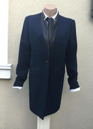 Темно-синий,удлиненный жакет,пиджак,пальто с кож.зам окантовко...